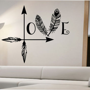 Arrow Feather Love Wall Decal namaste Vinyl Sticker Art Decor Bedroom Design Mural home decor room decor trendy mordern