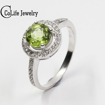 Classic round olivine stone ring 6mm*6mm genuine high quality peridot stone solid 925 silver gemstone ring hot sale silver ring