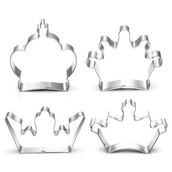 4 styles Crown Cookie Cutter stainless steel crown mold King Prince Queen Princess crown cake decoration tool H918