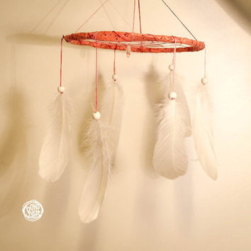 Nursing Mobile - Smell of a Flower -  Boho Home Decoration, Childrens Baby Nursery Crib Mobile with Drop Formed Pendant and White Feathers