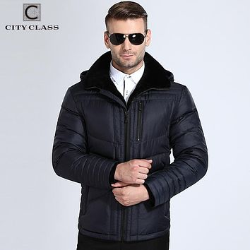 City Class Winter Jackets Men Warm Hooded Bio Down Jacket Lamb Fur Collar Slim Fit Dark Blue Fashion Business Coats 17803