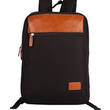 Unisex Oxford Leather Laptop Bag Backpack Daypack Travel Bookbag