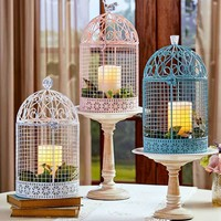 Decorative Cage Vintage Style Oversized Pastel Colors Gem Topped Metal & Acrylic