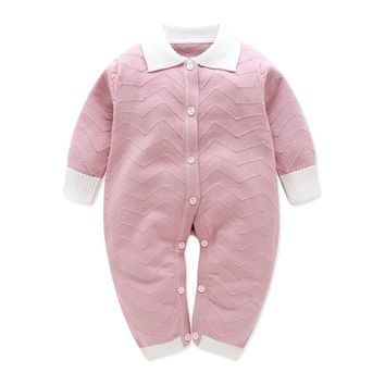 Cute Infant Baby Sweater Knitted Long Sleeve Romper Autumn Winter Baby Sweater For Boys High Qulity 3-9M Baby Girls Clothing