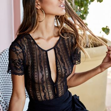 Lace Up bodysuit in black lace Produced By SHOWPO