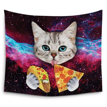CHARMHOME Space Nebula Universe Cat Eat Pizza Wall Tapestry Hanging Polyester Fabric Wall Art Tapestries Blanket Home Decor