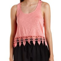 Crochet-Trim High-Low Tank Top by Charlotte Russe