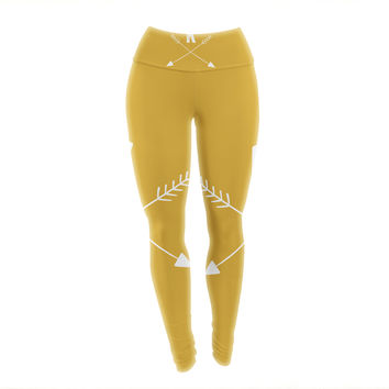 "KESS Original ""Golden Arrow Monogram"" Yoga Leggings"