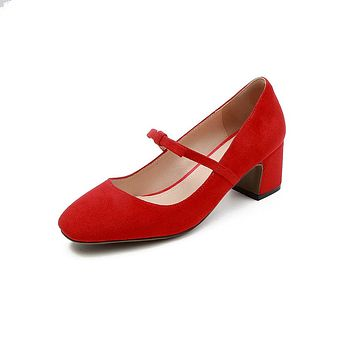 Knot Mary Janes Mid Heel Pumps Shoes for Women 1219