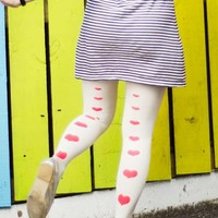 Love Story Line Of Hearts Print Tights White - Zohara