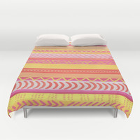 Tribal#1 (Orange/Pink/Yellow) Duvet Cover by haleyivers