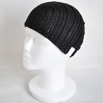 2pcs/lot Black Braided Cap Crochet Synthetic Braids Wig Cap With Adjustable Strap Glueless Weaving Cap