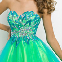 Blush 2014 Prom Dresses - Turquoise & Lime Strapless Short Prom Dress - Unique Vintage - Prom dresses, retro dresses, retro swimsuits.