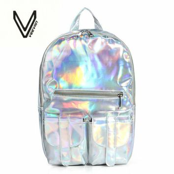 2016 Summer New Style Silver holographic laser backpack women PU Backpack Travel Bag multi color school friends the best gift