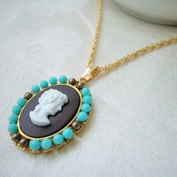 Brown and Turquoise Profile Cameo Necklace Hamilton Gold Rope Chain 18