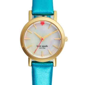 kate spade new york 'metro mini' metallic leather strap watch, 24mm | Nordstrom