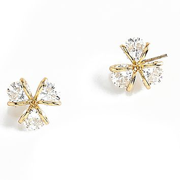 Gold Plated Post Earrings with Crystal Nicestone