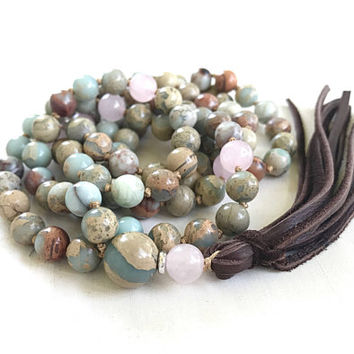 Mala Beads With Leather Tassel, Rose Quartz and African Opal Mala, 108 Bead Hand Knotted Mala, Yoga Gift Idea, Yoga Beads
