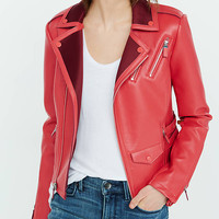 Red Color Block (minus The) Leather Jacket from EXPRESS