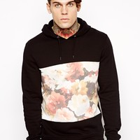 ASOS Hoodie With Floral Cut And Sew Panel
