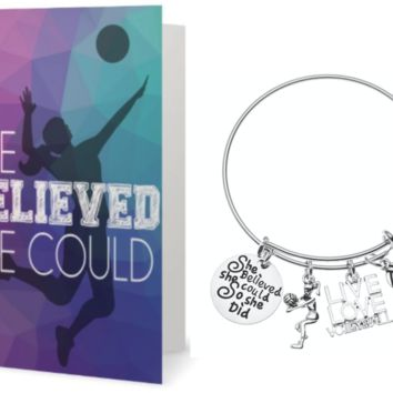 Volleyball Bracelet & Card Gift Set
