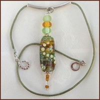 Glass Pendant, Handmade Lampwork Glass Bead Pendant, Tube Shape, Green Amber,  OOAK