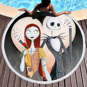 Summer Round Beach Towel Microfiber Large Bath Towel for Adults Kid Nightmare Before Christmas Printed Toalla Tassel Tapestry