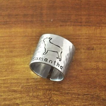 VONEGQ Personalized Hammered French Bulldog Ring, Custom Dog Adjustable Ring, Engraved Hand Stamped Cute Dog Ring Wide Band Ring