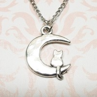 Cat on the Moon Necklace, kitty kitten cat lover cat lady pendant
