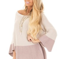 Oatmeal and Mauve Color Blocked Sweater