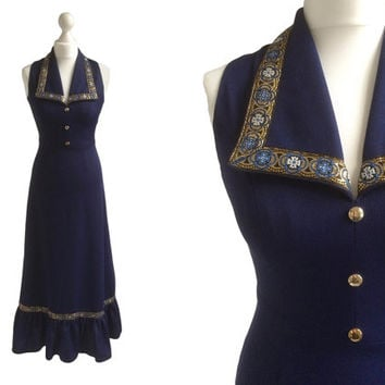 70's Maxi Dress - Long 1970's Vintage Dress - Navy Blue With Gold Brocade Trim Collar