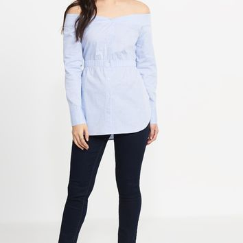 Off-The-Shoulder Tunic With Elastic