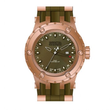 Invicta 12035 Men's Reserve Subaqua Diver Green Dial Rubber Strap Rose Gold Stainless Steel GMT Dive Watch