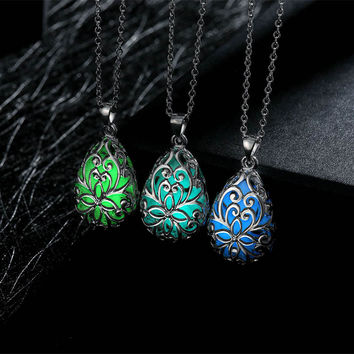 2016 Summer Fashion Wishing Tear Drop Magical Fairy Glow in the Dark Steampunk Pendant Necklace
