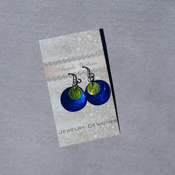 Blue and green shell earrings, bright blue shell earrings, light earrings, Blue circle earrings,  green and blue earrings