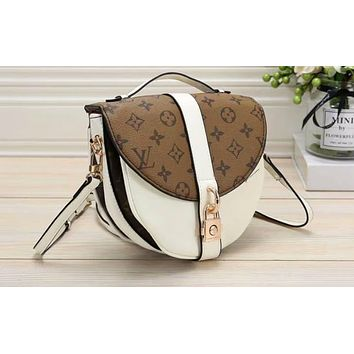 LV Hot Selling Lady's Printed and Coloured Shopping Bag Single Shoulder Bag White + brown