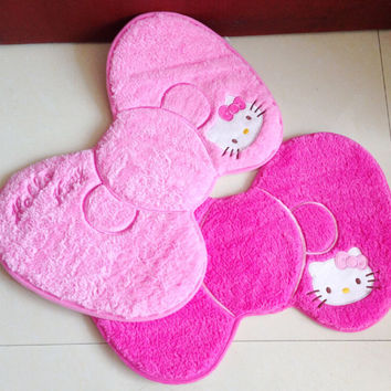 1X Cute Kawaii 50*39cm Hello Kitty Bow Style Door Mat Ground Soft Shaggy Carpets of Living Room Bedroom Rug Carpeted Floor Mats