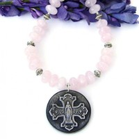 Virgin Mary and Cross Necklace, Pink Rose Quartz Gemstone Catholic Jewelry for Women