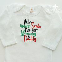 Baby Girls or Boys Christmas Bodysuit - xmas- Holiday Outfit - Baby Shower Gifts - Gender Neutral - Santa - Long Sleeve - Embroidered - Red