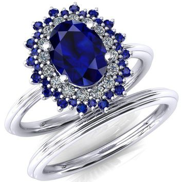 Eridanus Oval Lab-Created Blue Sapphire Cluster Diamond and Blue Sapphire Halo Wedding Ring ver.2