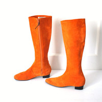 size 6 tall TWIGGY boots / vintage 60s retro MOD orange SUEDE editorial knee high go go boots
