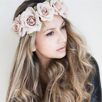 New High Quality Peony Women's Bohemian Floral Headbands Flower Garland Summer Hair Band Scrunchy Hair Band