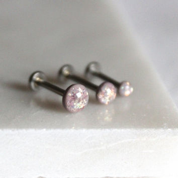 Opalescent Dusty Lavender Internally Threaded Labret Stud, 18g or 16g in Many Lengths: 3mm, 4mm, 5mm Size Gems (OLx6)