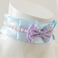 Lolita choker - Pearl rivers - pleated pastel kawaii choker with bow and lace - kittenplay kitten pet play ddlg collar cosplay costume