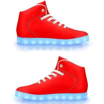 Bright Red -  APP Controlled High Top LED Shoes