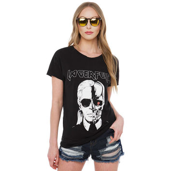 CWLSP Women LAGERFELD Letter T-shirt 2017 New Skull Printed Black Punk Cotton T Shirts Womens Tops Brand Plus Size Tee Top QA925