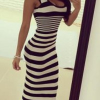 Black and White Striped Maxi Dress
