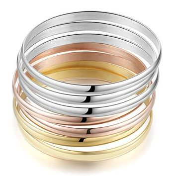 Carfeny SilverGoldRose Gold Bangles Tricolor High Polished Stainless Steel Bangle Bracelets Set for Women Perimeter 84 Inches 7 Pack