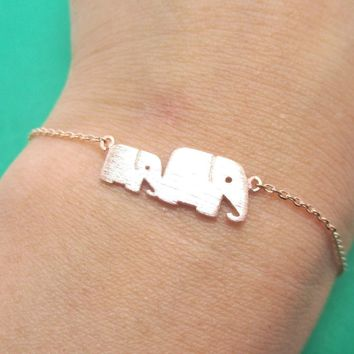 Mother and Baby Elephant Animal Silhouette Charm Bracelet in Rose Gold | DOTOLY