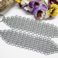 Artisan Chainmail Maille Long Armour Keychains Set of 2 Galvanized Steel Rings